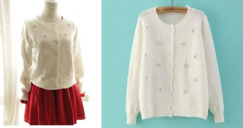 Women Girl Cute Round Neck Beading Knitted Cardigan Sweater Top